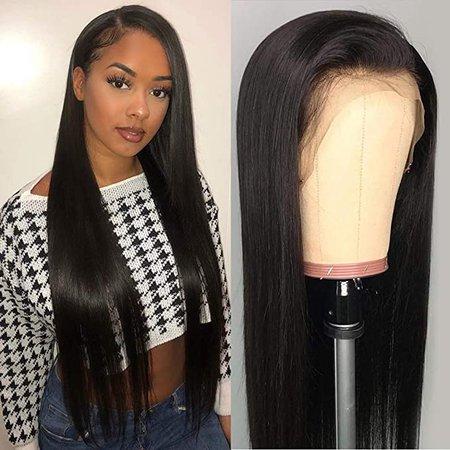 "Amazon.com : Perstar Straight Human Hair Wigs Lace Front Wigs Human Hair Pre Plucked 13x4 Lace Frontal Wig Straight Human Hair Lace Wigs Glueless Lace Front Wigs Unprocessed Human Hair Wigs For Women 10"" : Beauty"