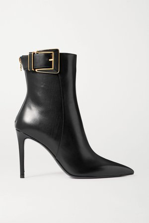 Black Payton buckled leather ankle boots | Balmain | NET-A-PORTER