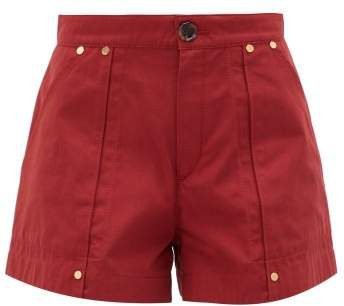 High Rise Cotton Poplin Shorts - Womens - Dark Red