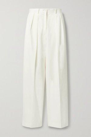 Igor Pleated Cotton Wide-leg Pants - White