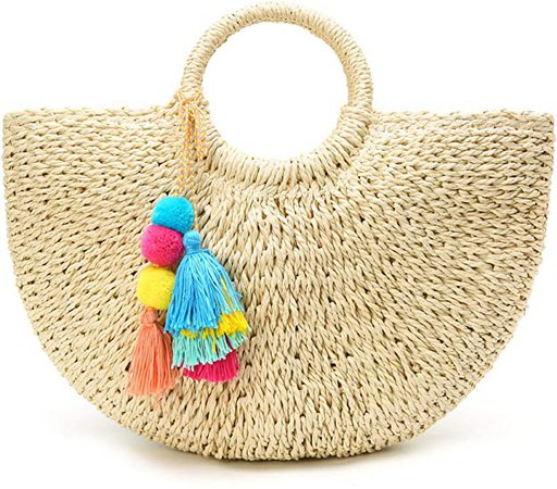 Amazon.com: Womens Large Straw Bags Beach Tote Bag Hobo Summer Handwoven Bags Purse With Pom Poms: Clothing