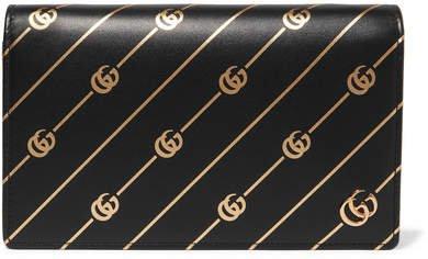Printed Leather Shoulder Bag - Black