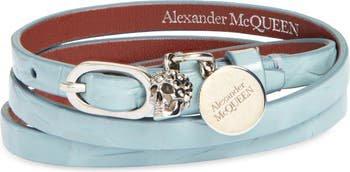 Alexander McQueen Pavé Skull Charm Croc Embossed Leather Wrap Bracelet   Nordstrom