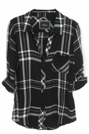 black + white flannel shirt