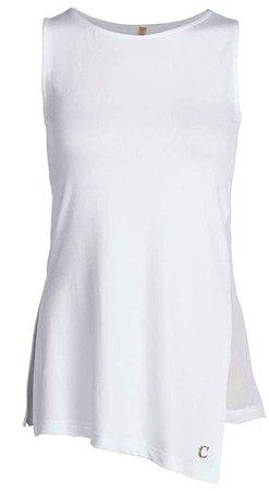 Conquista Asymmetric Sleeveless Top In White