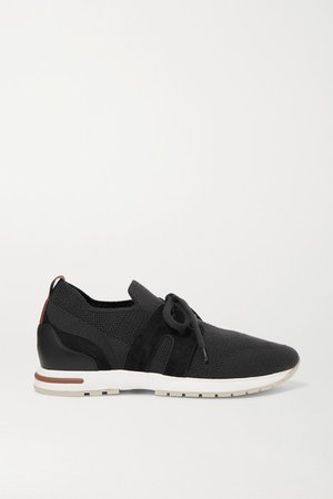 Flexy Lady Cashmere And Suede Sneakers - Black
