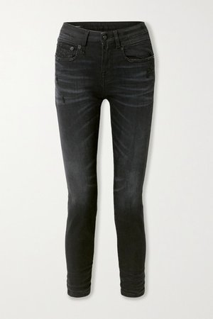 Distressed Mid-rise Skinny Jeans - Black