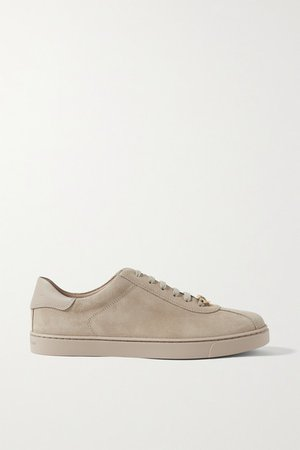 Leather-trimmed Suede Sneakers - Beige