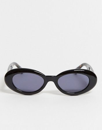 ASOS DESIGN oval sunglasses in shiny black with tort arms | ASOS