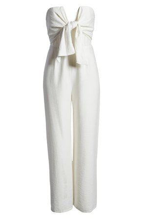 SNDYS Villa Strapless Cotton Blend Jumpsuit white