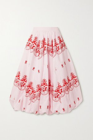 Gathered Embroidered Cotton-poplin Midi Skirt - Pink