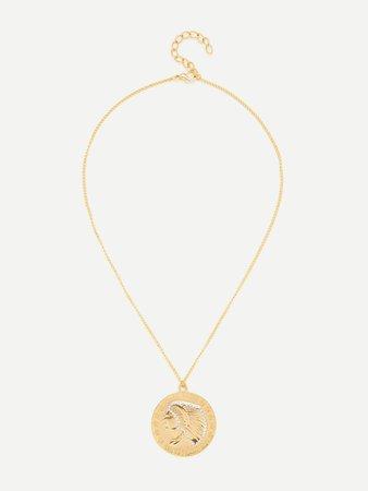 Star Pattern Round Pendant Chain Necklace