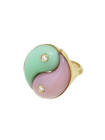 Retrouvaí Jewelry - Opal Chrysoprase Yin Yang Ring YG - Ylang 23