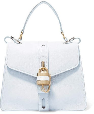 Aby Medium Textured-leather Tote - Light denim