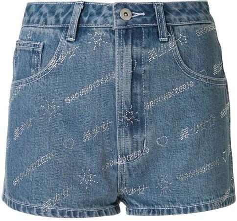Denim Embellished Logo Shorts