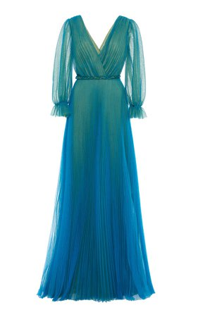 Luisa Beccaria Pleated Chiffon Maxi Dress