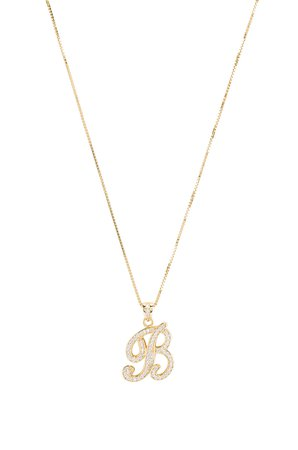 The Iced Out Script Initial B Necklace