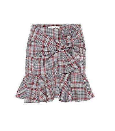 Checked cotton miniskirt