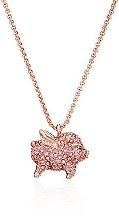 "Amazon.com: kate spade new york Pink Pave Pig Mini Pendant Necklace, 17"" + 4"" Extender: Jewelry"