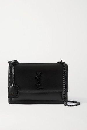 Sunset Medium Leather Shoulder Bag - Black