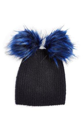 Topshop Faux Fur Double Pompom Beanie | Nordstrom