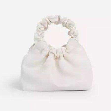 Ego white ruched mini bag