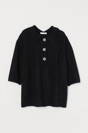 Fine-knit top - Black - Ladies   H&M