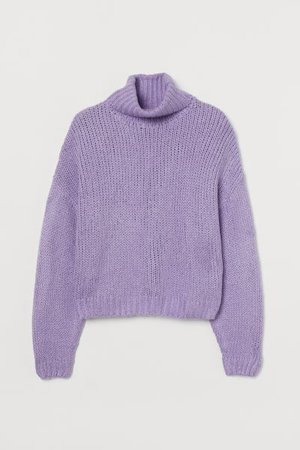 Chunky-knit Turtleneck Sweater - Light purple - Ladies | H&M US
