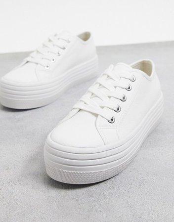 Steve Madden Bobbi flatform sneaker in white | ASOS