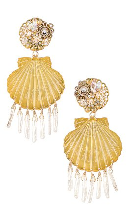Mercedes Salazar Small Shell Pearl Earrings in Gold | REVOLVE