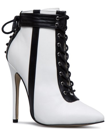 black/white ankle heeled boots