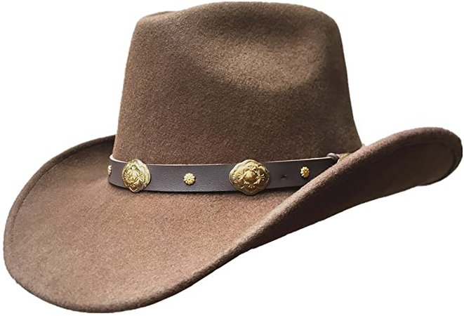 Brown Authentic Wool Felt Soft Cowboy Hat for Men or Women at Amazon Men's Clothing store