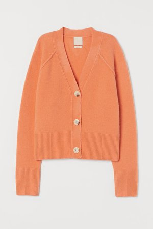Boxy Wool-blend Cardigan - Orange