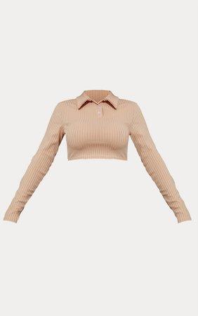 Stone Rib Cropped Long Sleeve Polo Shirt | PrettyLittleThing