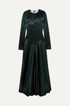 Printed Satin Maxi Dress - Black