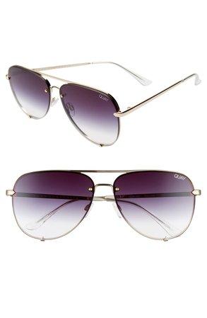 Quay Australia High Key 65mm Oversize Rimless Aviator Sunglasses | Nordstrom