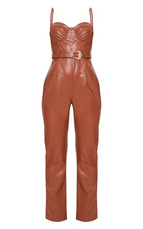 Chocolate Pu Cup Detail Belted Jumpsuit | PrettyLittleThing USA