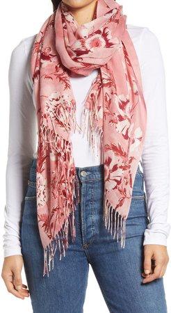 Tissue Print Wool & Cashmere Wrap Scarf