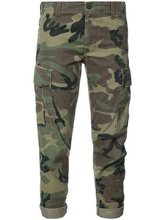 Re/done Camouflage Print Cropped Trousers 3156WCGP Green | Farfetch