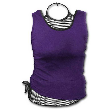 Spiral Direct Gothic rock, gothic metal fantasy ladies top with mesh fabric purple