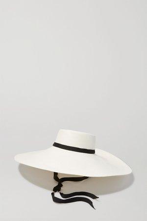 White Grosgrain-trimmed toquilla straw hat | Sensi Studio | NET-A-PORTER