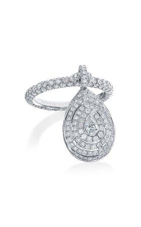 Nina Runsdorf X Muzo Emerald & Diamond Dangle Ring By Muzo Emerald Colombia   Moda Operandi