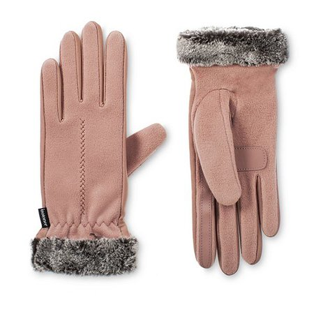 Women's isotoner SmartDRI Lined Stretch Fleece Gloves with Faux Fur Cuff