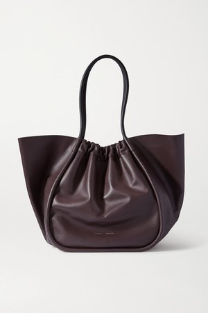 Xl Ruched Leather Tote - Brown