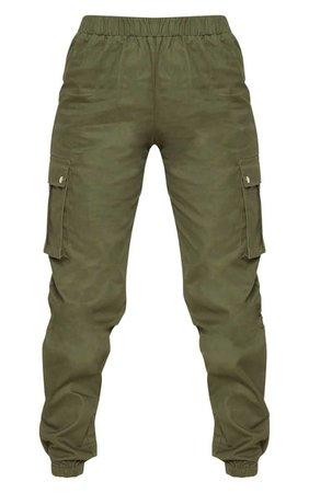 Petite Khaki Pocket Detail Cargo Trousers | PrettyLittleThing