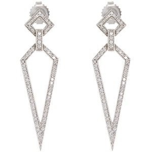18k White Gold Diamond Stiletto Drop Earrings