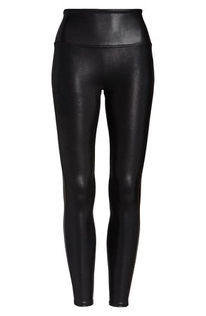 SPANX® Faux Leather Track Stripe 7/8 Active Leggings | Nordstrom
