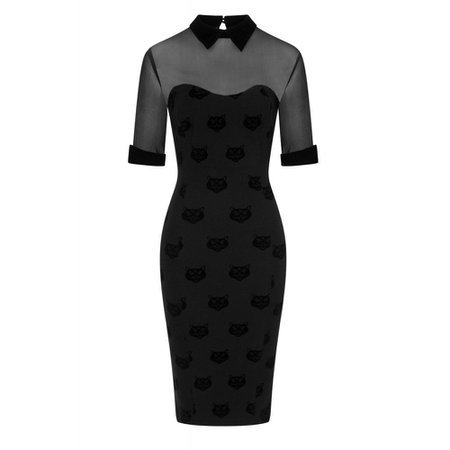 Collectif Wednesday velvet pencil dress with cats pattern black | Atti