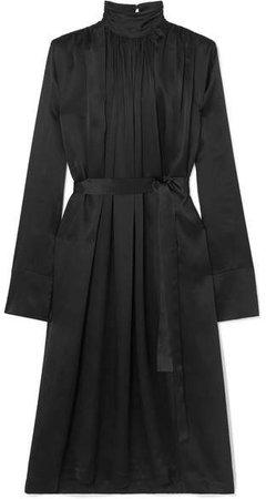 MATÉRIEL - Belted Silk-satin Turtleneck Midi Dress - Black