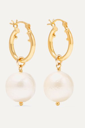Gold Gold-plated pearl earrings | Chan Luu | NET-A-PORTER